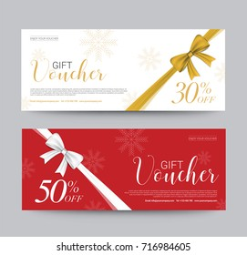 Gift Voucher Template Promotion Sale discount, Gold Ribbon background, vector illustration