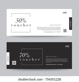 Gift Voucher Template Promotion Sale discount, black and white background, vector illustration