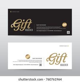 Gift Voucher Template Promotion Sale discount, Gold glitter background, vector illustration