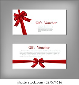 Gift Voucher template with red bow ribbon. Vector illustration