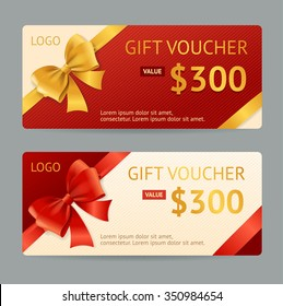 Gift Voucher Template with Ribbon and a Bow. Vector illustration
