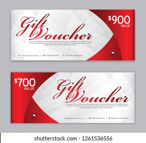 Gift Voucher template, Sale banner, Horizontal  layout, discount cards, headers, website, red background, vector illustration EPS10