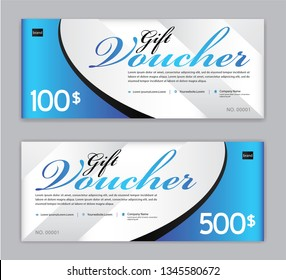 Gift Voucher template, Sale banner, Horizontal  layout, discount cards, headers, website, blue background, vector illustration EPS10