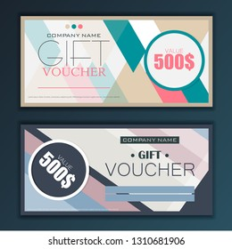 Gift voucher template set in flat style vector
