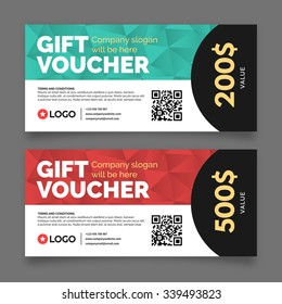Gift voucher template, set of two cards with place for your text, vector graphic design
