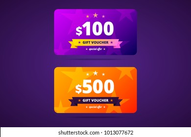 Gift voucher template in two color variants. 100 and 500 dollars voucher. Vector illustration.