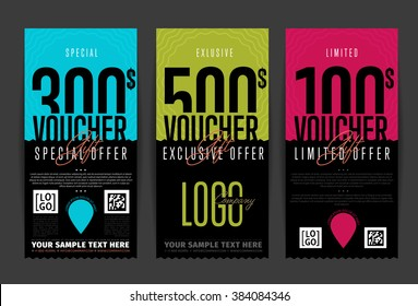 Gift voucher template. Two side of discount voucher or gift certificate layout. Promo coupon of discount  special offer. Voucher card template vector design.