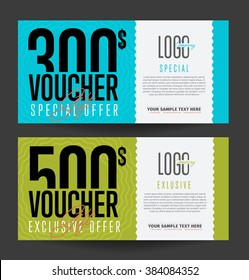 Gift voucher template. Two side of discount voucher or gift certificate layout. Promo coupon of discount  special offer. Voucher card template vector design for restaurant or luxury business.