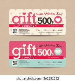 Gift voucher template with valentines day pattern,Vector illustration