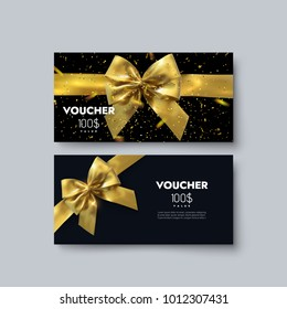 Gift voucher template. Vector illustration. Discount coupon layout. Black background with golden bow, ribbon and sparkling confetti