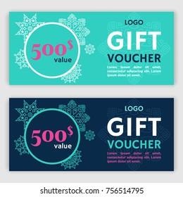 Gift voucher template. Vector illustration