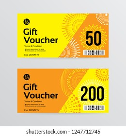Gift voucher template with yellow color and fireworks background . Vector illustration