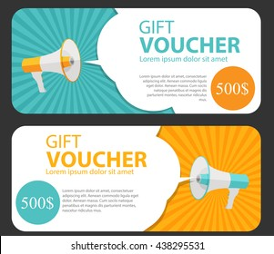 Gift Voucher Template For Your Business.  Megaphone and Speech Bubble. Vector Illustration EPS10