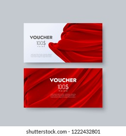 Gift voucher templates. Set of discount certificates. Vector illustration of coupons with 100 dollars value. Premium promotional card with red draped silk fabric