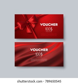 Gift voucher templates. Set of discount certificates. Vector illustration of coupons with 100 dollars value. Premium promotional card with red bow, ribbon and silk fabric
