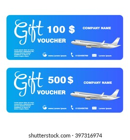 Gift voucher for trip with airplane Vector Illustration