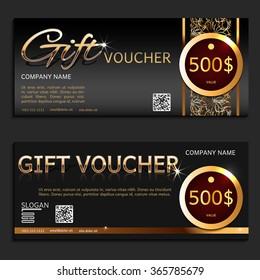 Gift voucher. Vector, illustration. Card template. Gold