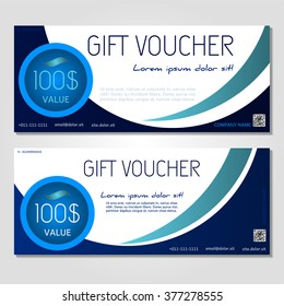 Gift voucher. Vector, illustration. Card template. blue.