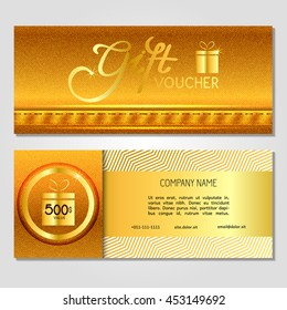 Gift voucher. Vector, illustration. Card template. Gold jeans.