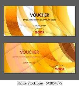Gift voucher. Vector, illustration. Gold background.