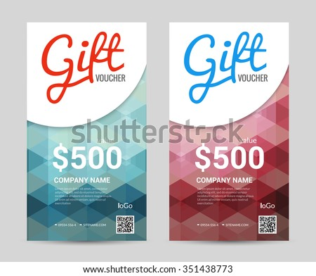 Gift Voucher Vertical Template Colorful Modern Stock Vector Royalty