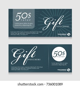 Gift vouchers banner card with text on abstract line texture dark blue tone background vector design