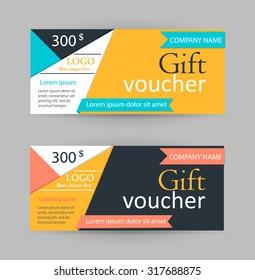 Gift vouchers design template, vector illustration