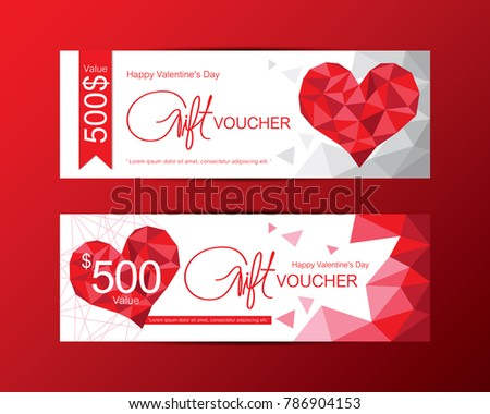Gift Vouchers Happy Valentines Day Template Stock Vector Royalty
