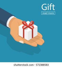 Gift white box with red ribbon and bow in hands of men. Holding in palms gift-box. Vector illustration isometric flat design. Giving, receiving surprise. Isolated on background. 3d surprise.