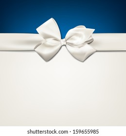 Gift white ribbon with bow over blue and beige background. Vector illustration.
