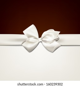 Gift white ribbon with bow over brown and beige background. Vector illustration.