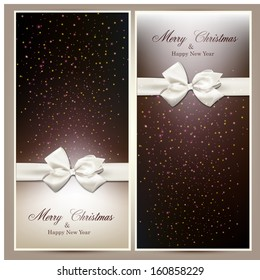 Gift white ribbon with bow over brown and beige paper cards. Vector illustration.