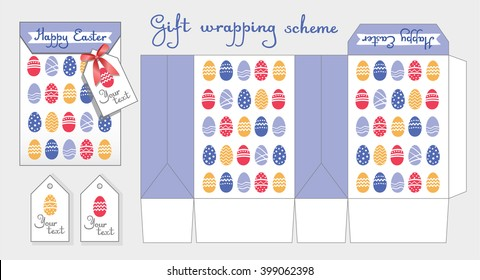 Gift wrapping scheme. Happy Easter. Packing box template. Bonbonniere with label for celebrations. Cute pattern with Easter eggs. Orange, blue, red, white color.  - Shutterstock ID 399062398