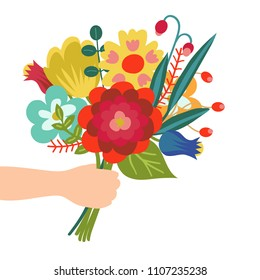 Gift for you. Flower bouquet in hand illustration in flat style. Isolated on white background.