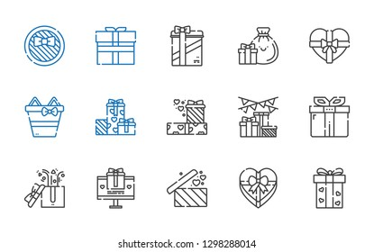 giftbox icons set. Collection of giftbox with gift, gifts. Editable and scalable giftbox icons.