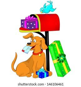Gift,Dog and Bird