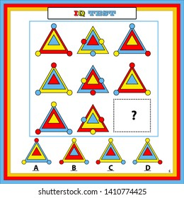 Gifted And Talented Worksheets,IQ test. Choose correct answer. Set of logical tasks composed of geometric shapes. Vector illustration. Answer is C