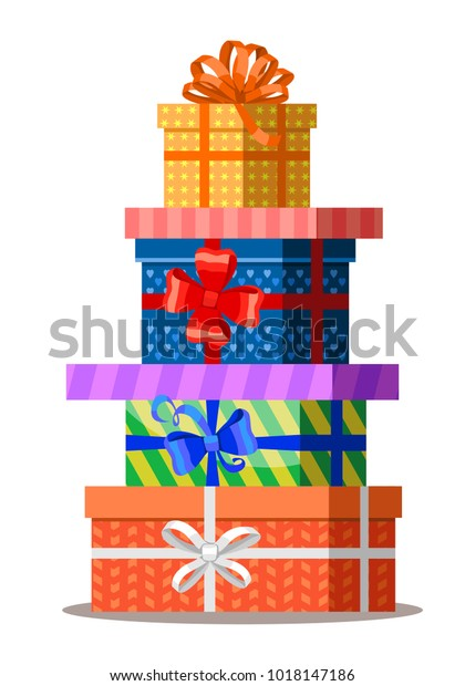 Gifts with bows and ribbons. Stack of colorful present gift boxes. Set of wrapped gift boxes isolated on white background. Sale and shopping concept. Vector illustration, eps 10