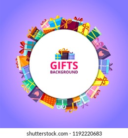 Gifts boxes background. Colored xmas valentine and other celebrations, presents, surprise birthday shopping box with ribbons and bows, vector flat pictures in circle shape for personal design projects
