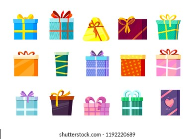 Gifts boxes. Colored xmas valentine and other celebrations, presents, surprise birthday, shopping box with ribbons, and bows. vector flat pictures isolated on white background