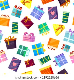 Gifts boxes pattern. Colored xmas valentine and other celebrations presents, surprise birthday, shopping box with ribbons and bows. vector flat pictures seamless white background.
