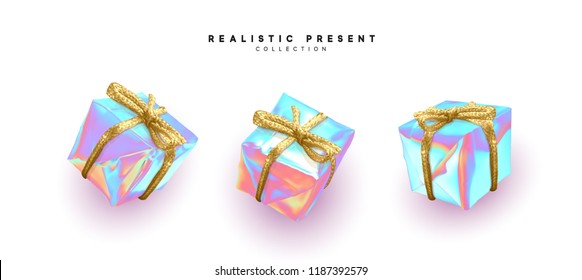 Gifts boxes realistic design. Set presents isolated on white background