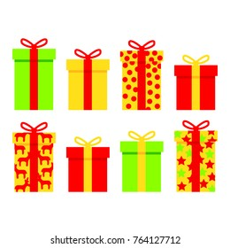 Gifts colorful set for holidays on white background vector illustration