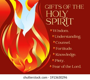 Gifts of the Holy spirit Pentecost Sunday vector illustration