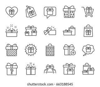 Gifts line icons. Set of Present box, Offer and Sale signs. Shopping cart, Tags and Chat symbols. Speech bubble, Give a gift and Question mark. Quality design elements. Editable stroke. Vector