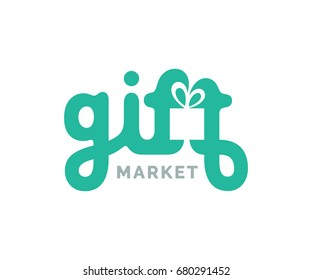 Gifts logo with box symbol. Creative logo design. Vector lettering sign.