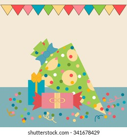 Gifts on a background of confetti and garlands of flags. Vector illustration.
