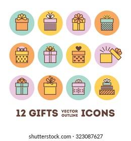 Gifts outline icons set for celebrating card, interface, illustration. Modern vector illustration and stylish design element