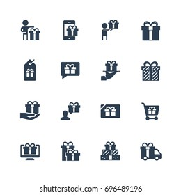 Gifts, presents vector icon set
