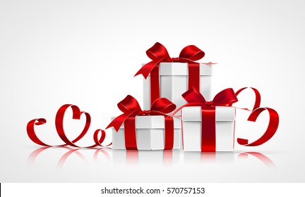 Gifts with red bows and ribbons with shadow and reflection on light background. Vector illustration
